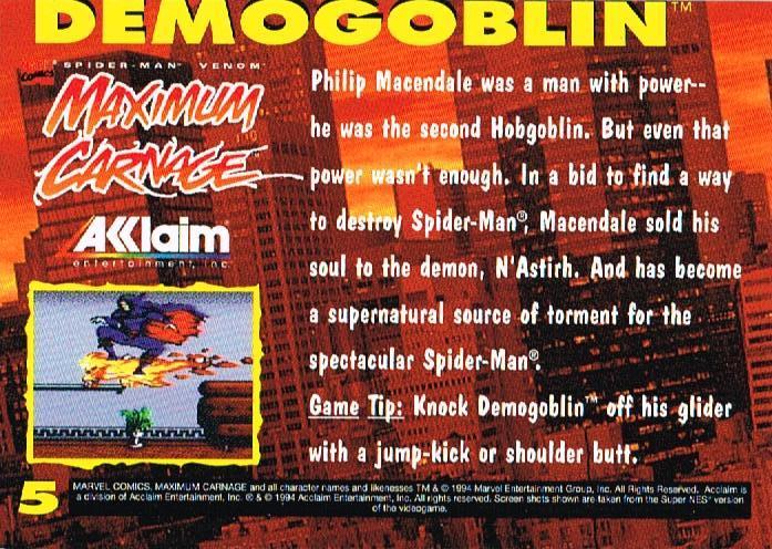 1994 Acclaim Maximum Carnage Promo [in Cards > Promo Cards